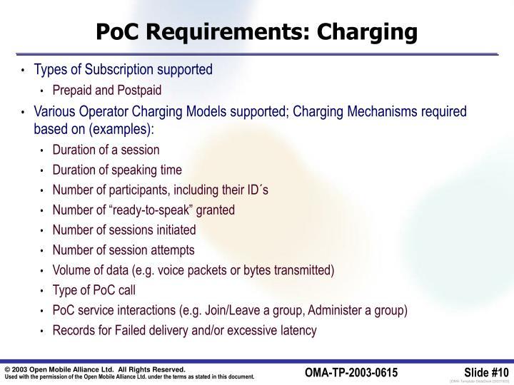 PoC Requirements: Charging