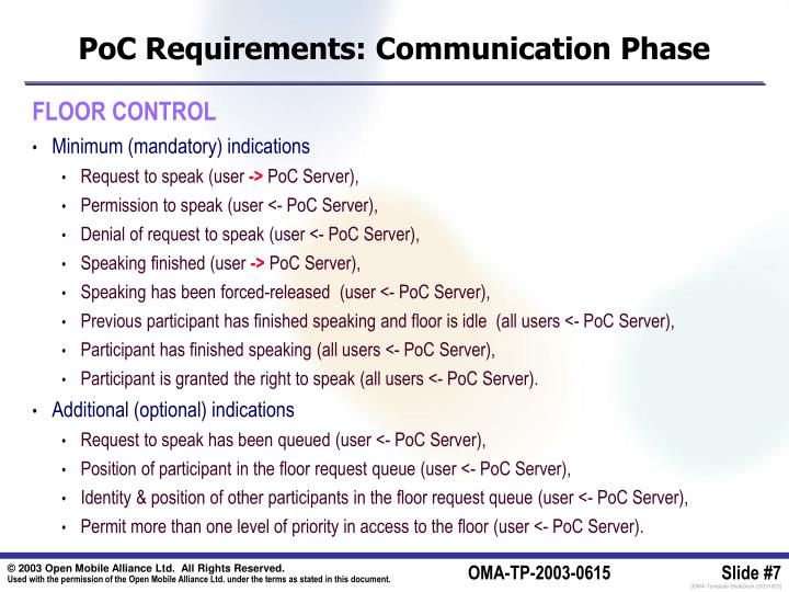 PoC Requirements: Communication Phase