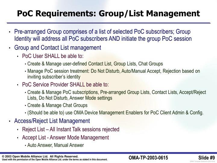 PoC Requirements: Group/List Management