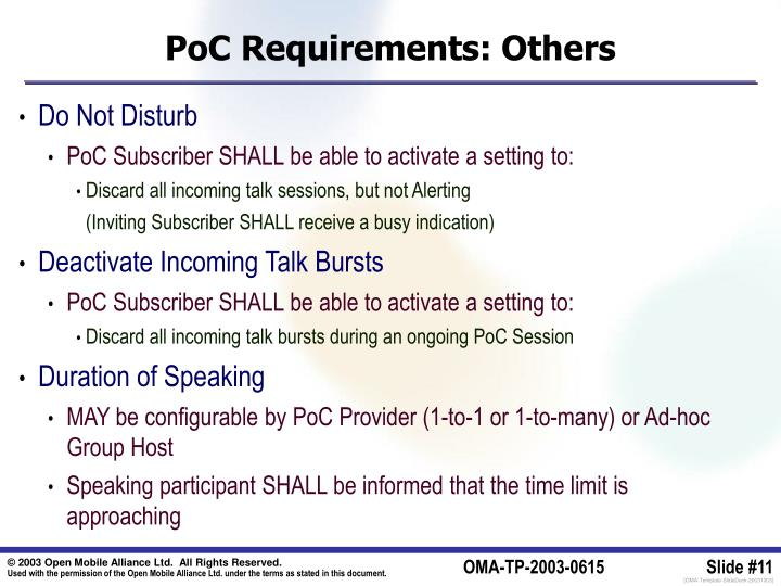 PoC Requirements: Others