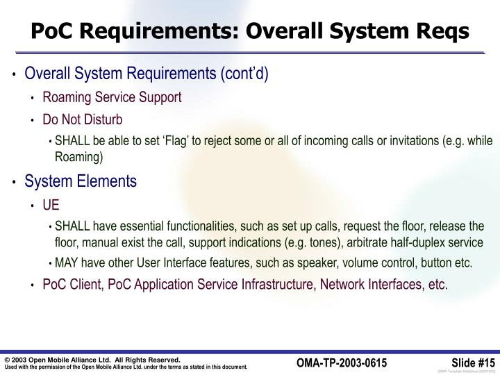 PoC Requirements: Overall System Reqs