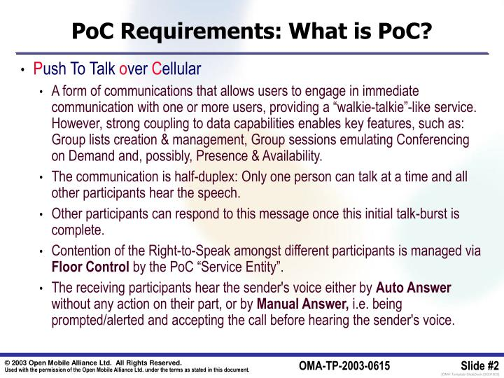 Poc requirements what is poc