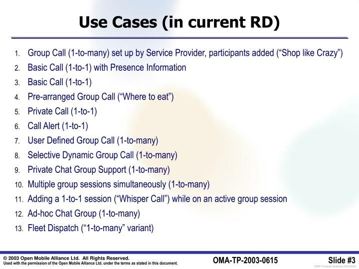 Use cases in current rd