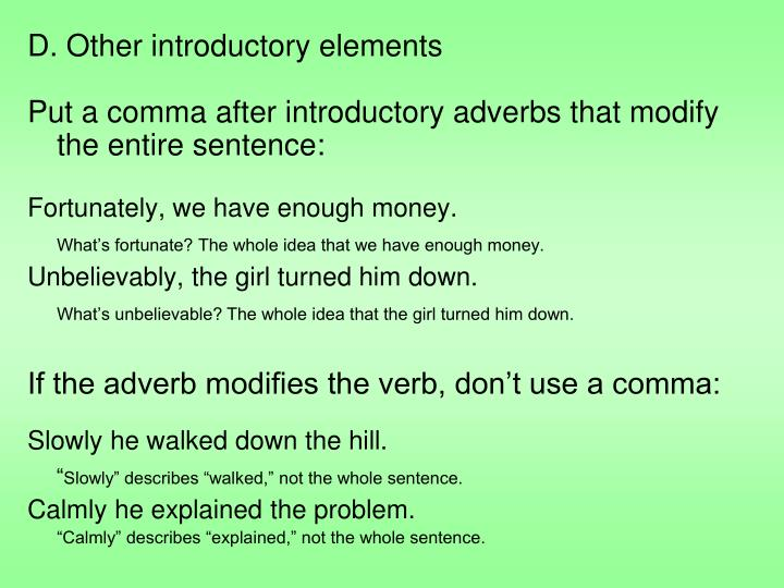 D. Other introductory elements