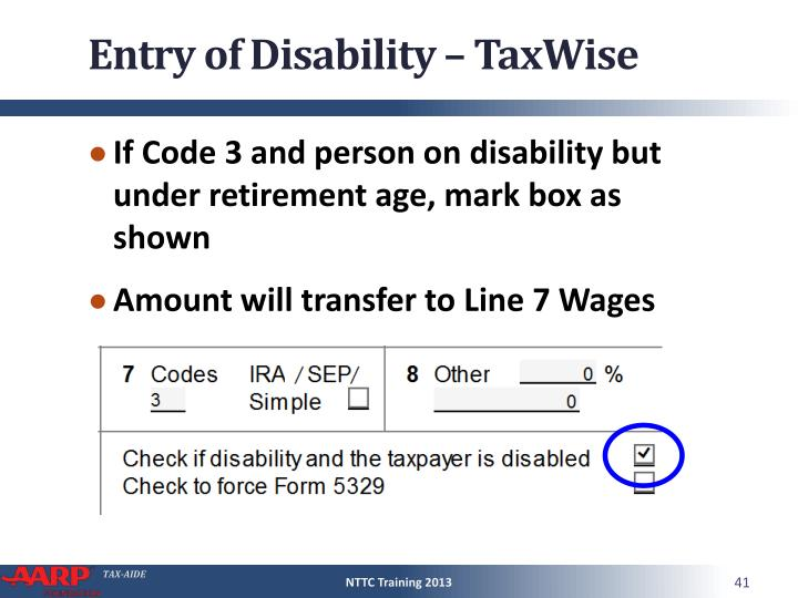 Entry of Disability – TaxWise