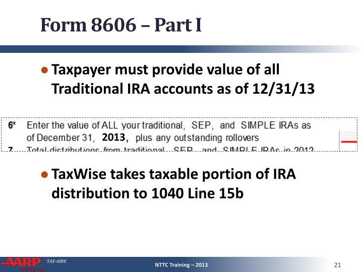 Form 8606 – Part I