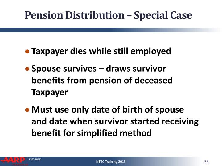 Pension Distribution – Special Case