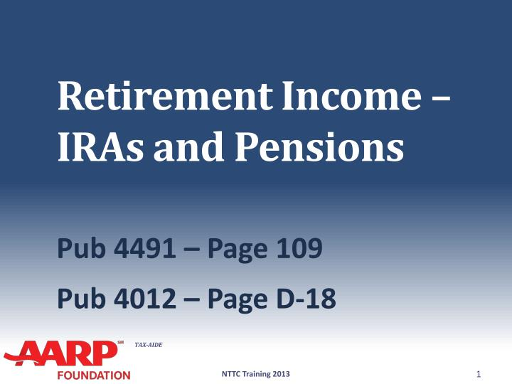 Retirement income iras and pensions