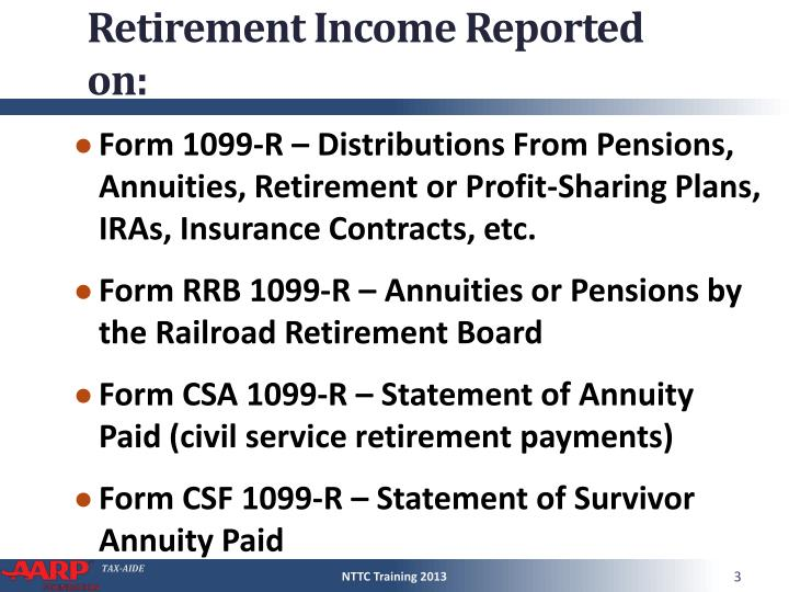 Retirement income reported on