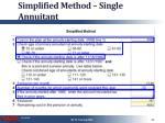 simplified method single annuitant