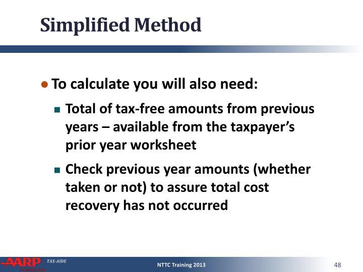 Simplified Method