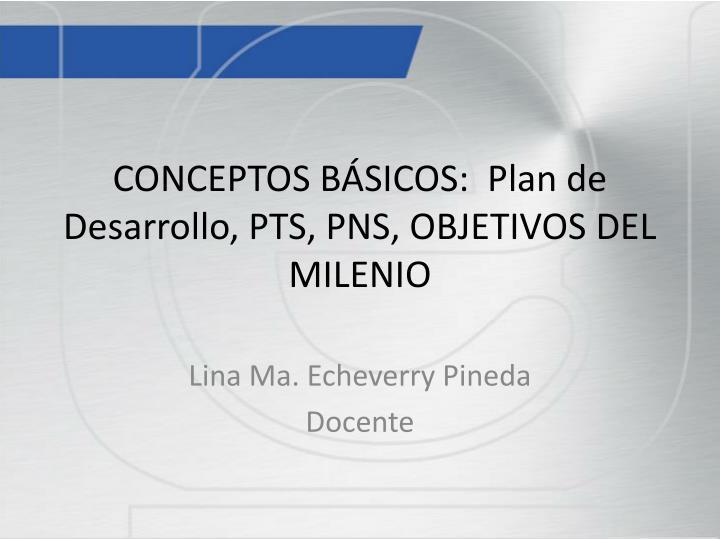CONCEPTOS BÁSICOS:  Plan de Desarrollo, PTS, PNS, OBJETIVOS DEL MILENIO