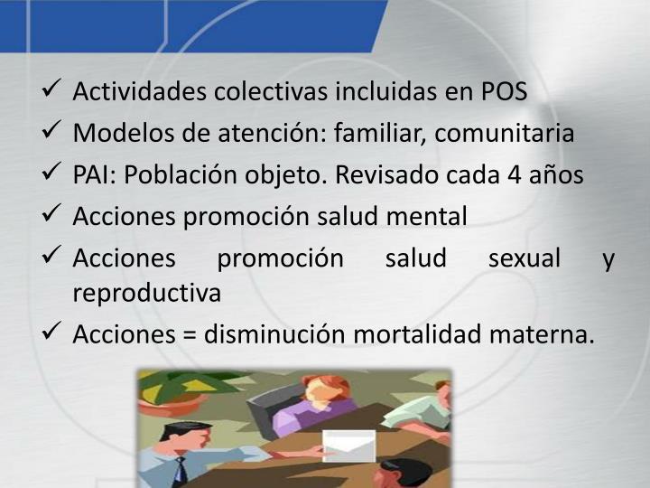 Actividades colectivas incluidas en POS