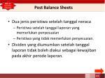 post balance sheets