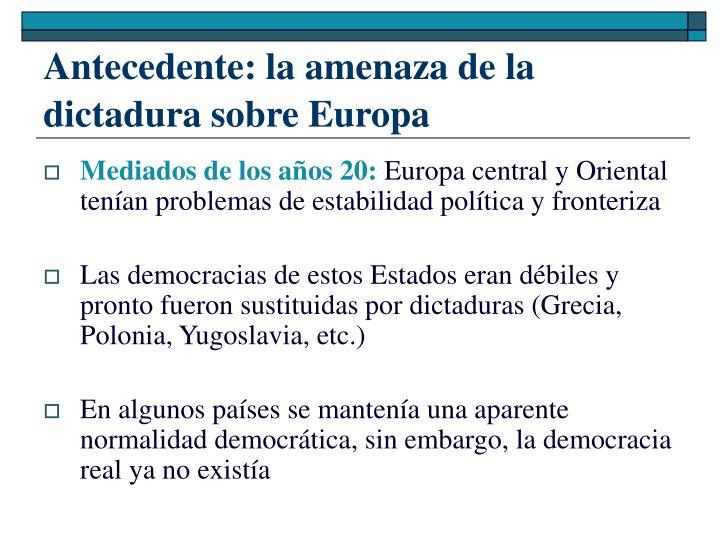 Antecedente: la amenaza de la dictadura sobre Europa