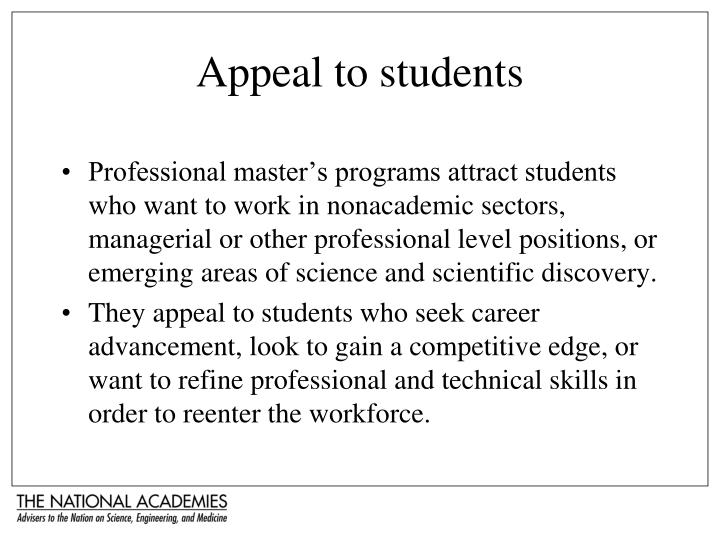 Appeal to students