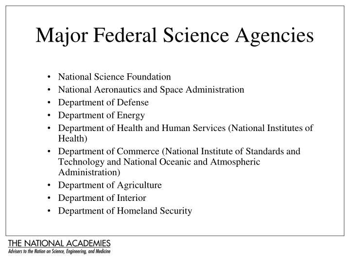 Major Federal Science Agencies