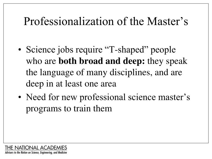Professionalization of the Master's