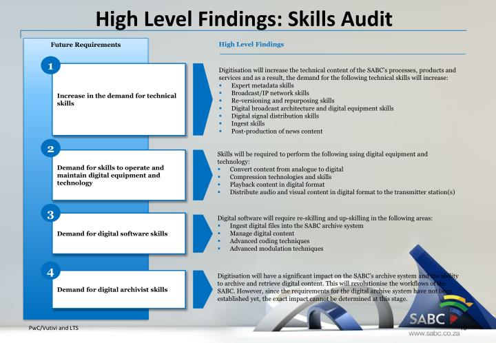 High Level Findings: Skills Audit