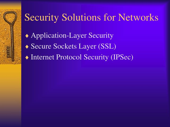 Security Solutions for Networks
