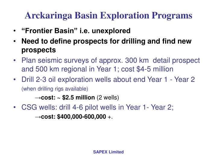 Arckaringa Basin Exploration Programs