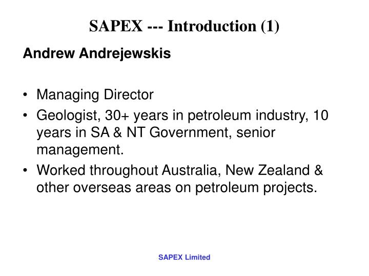 SAPEX --- Introduction (1)