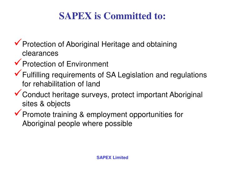 SAPEX is Committed to: