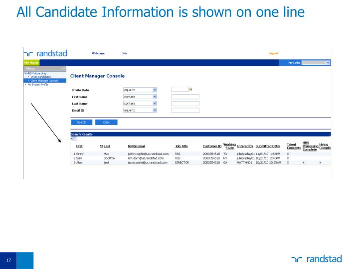 All Candidate Information is shown on one line