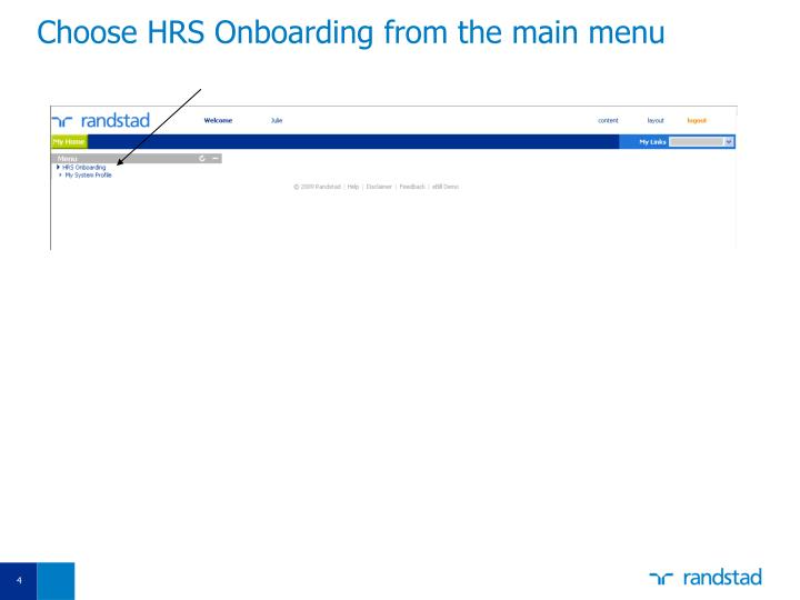Choose HRS Onboarding from the main menu