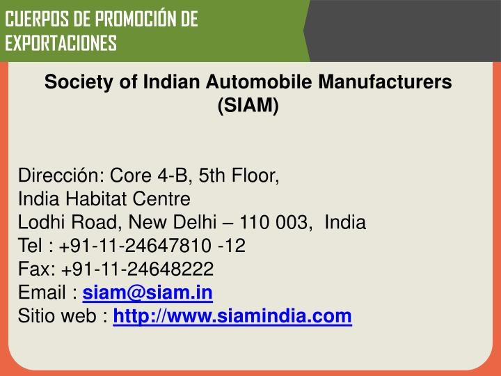 Society of Indian Automobile Manufacturers (SIAM)