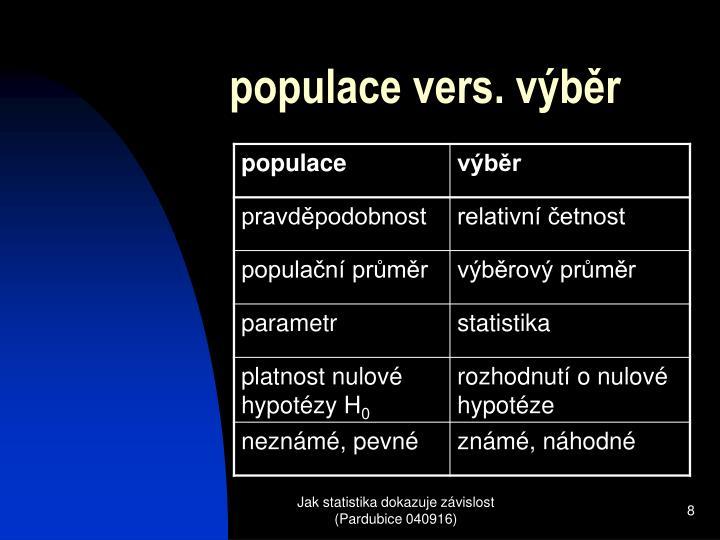 populace vers. výběr