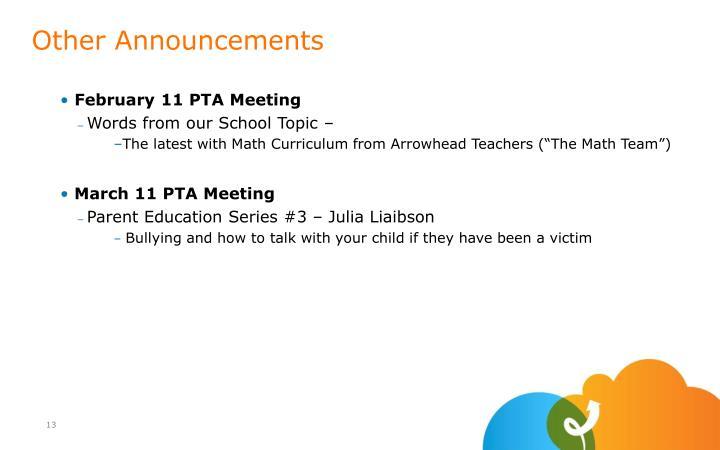 February 11 PTA Meeting