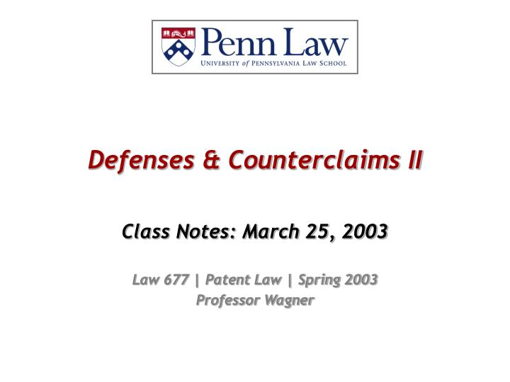 Defenses counterclaims ii