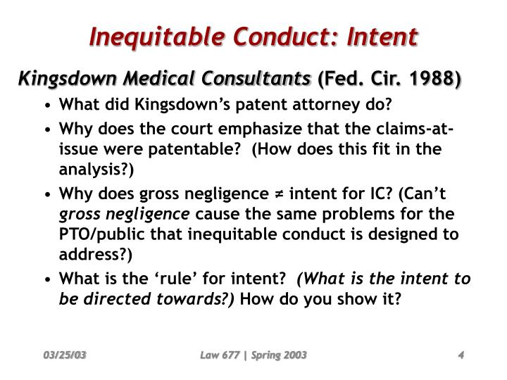 Inequitable Conduct: Intent