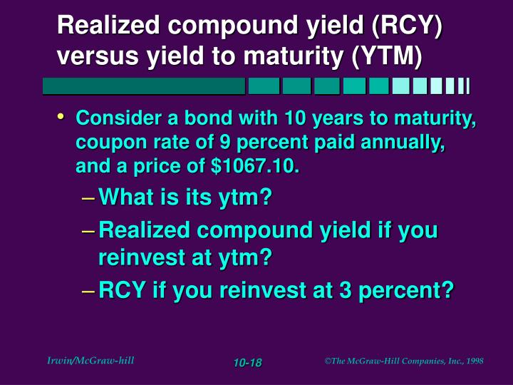 Realized compound yield (RCY) versus yield to maturity (YTM)