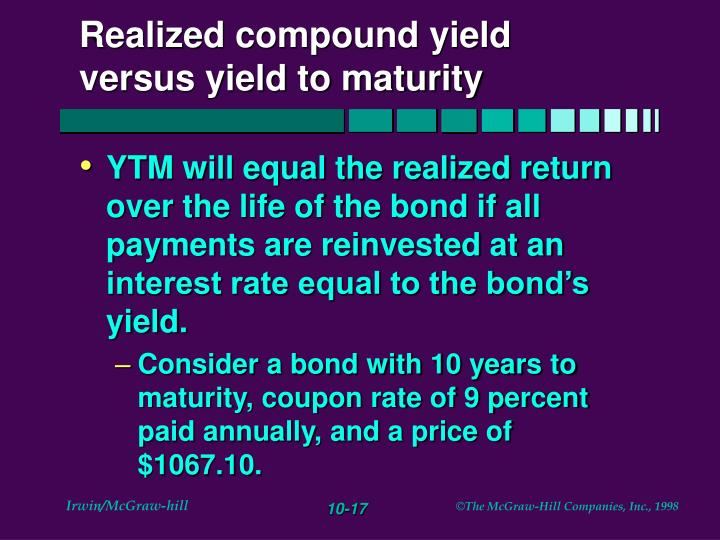 Realized compound yield versus yield to maturity