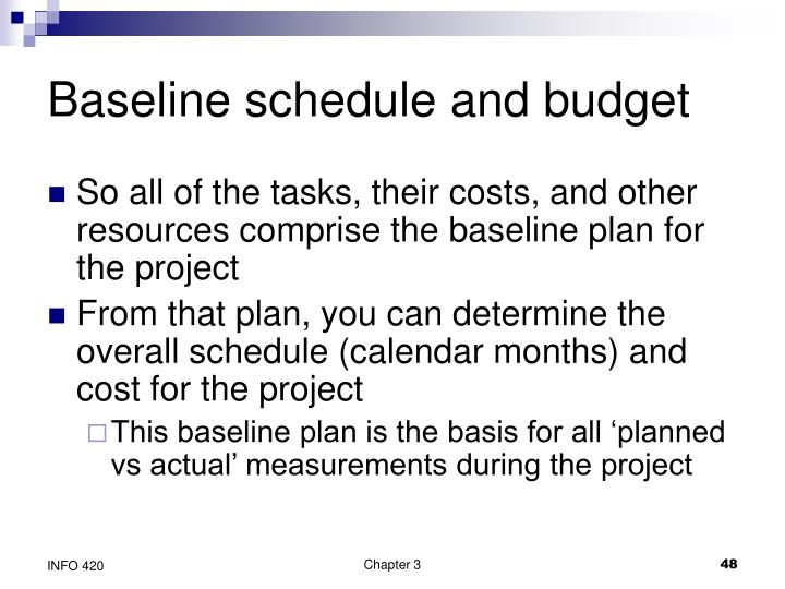 Baseline schedule and budget