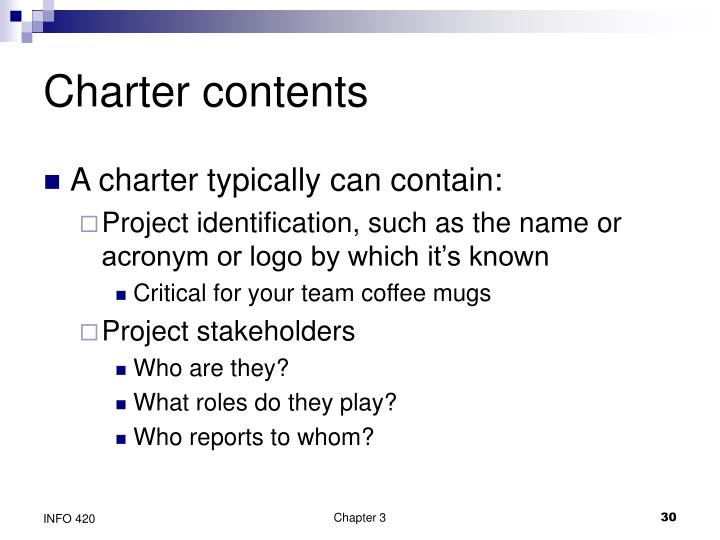 Charter contents