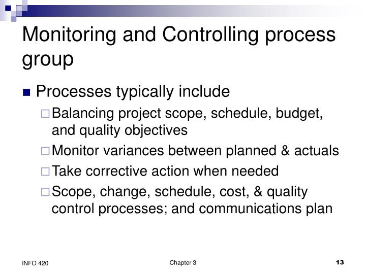 Monitoring and Controlling process group