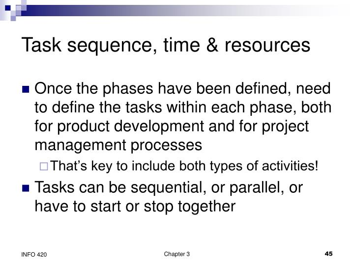 Task sequence, time & resources