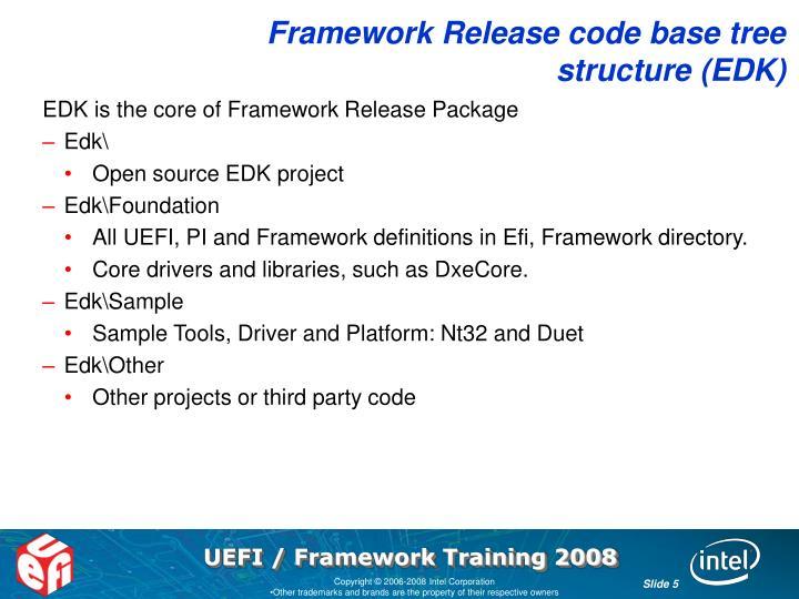 Framework Release code base tree structure (EDK)