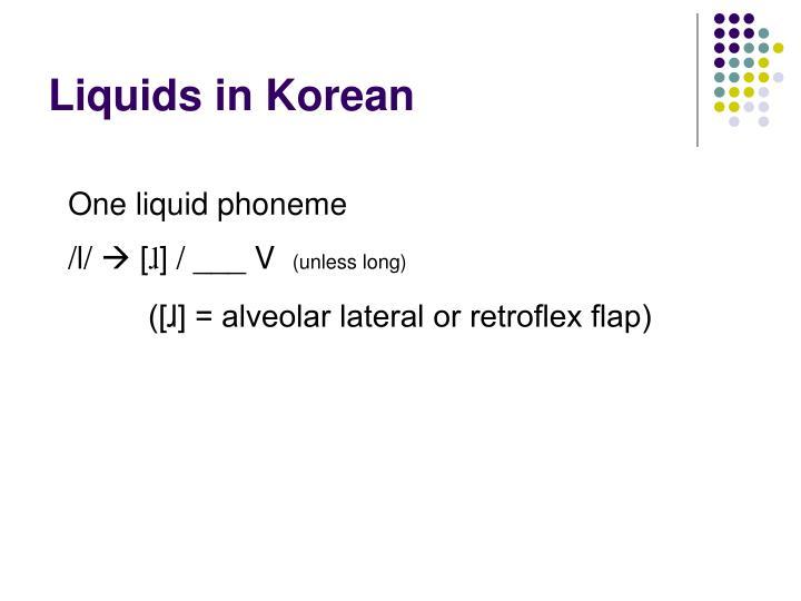 Liquids in Korean