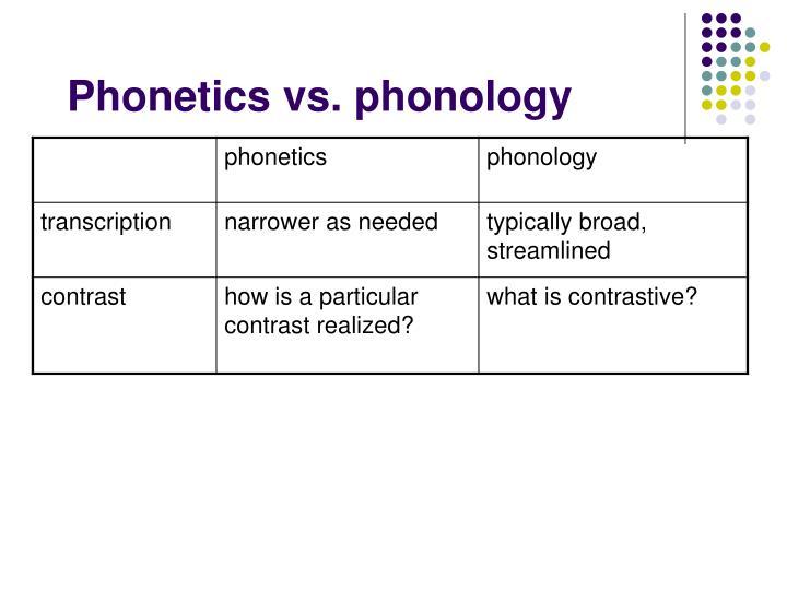Phonetics vs. phonology