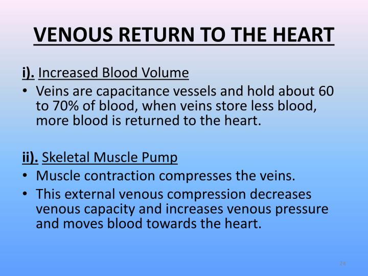 how to calculate venous return
