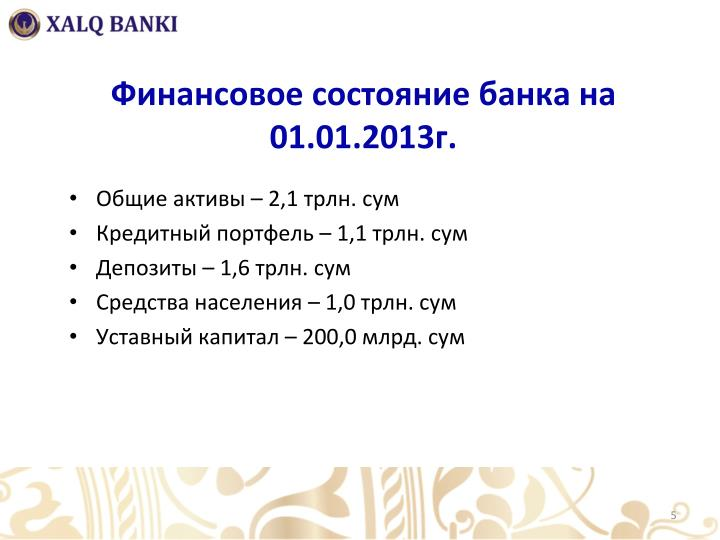 Финансовое состояние банка на 01.01.2013г.