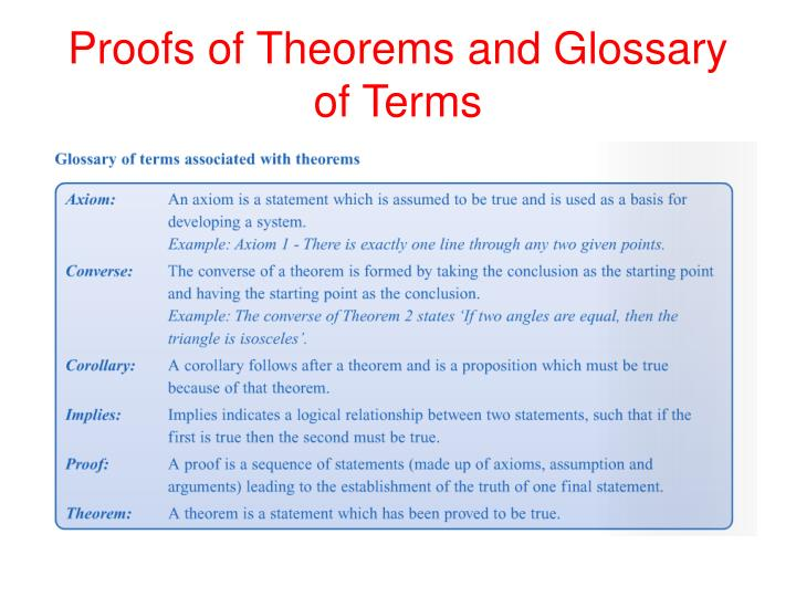 Proofs of theorems and glossary of terms