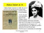 abdus salam at 14