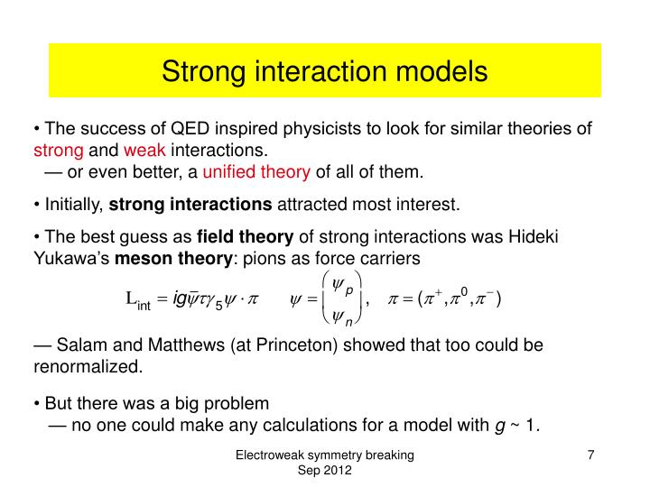 Strong interaction models