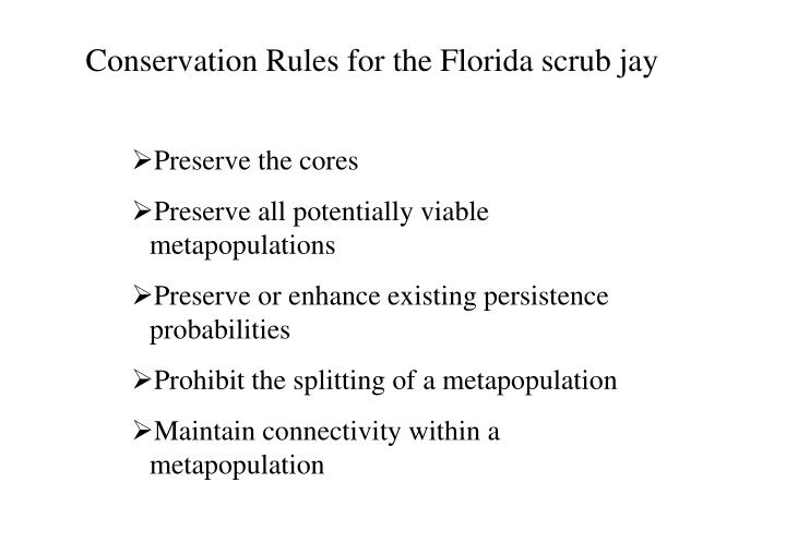 Conservation Rules for the Florida scrub jay