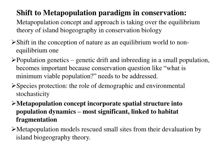 Shift to Metapopulation paradigm in conservation:
